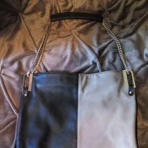 Black/Taupe Two-Tone Faux Leather Bag